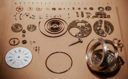 Παλαιά παλαιά μέρη μηχανισμών ρολογιών τσεπών στοκ φωτογραφία με δικαίωμα ελεύθερης χρήσης