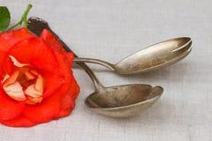 Παλαιά μαχαιροπήρουνα - το κουτάλι και το δίκρανο με αυξήθηκαν Στοκ Εικόνα
