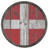 Παλαιά μεσαιωνική ξύλινη ασπίδα της τρισδιάστατης απεικόνισης σταυροφόρων απεικόνιση αποθεμάτων