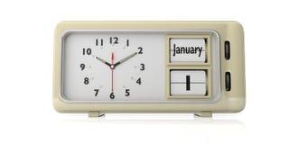 Παλαιά νέα ημέρα έτους ` s 14 Ιανουαρίου, σε ένα ξυπνητήρι, που απομονώνεται στο άσπρο υπόβαθρο τρισδιάστατη απεικόνιση ελεύθερη απεικόνιση δικαιώματος