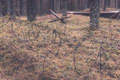 παλαιά ξύλινα trenshes στη Λετονία - εκλεκτής ποιότητας αναδρομική επίδραση Στοκ εικόνες με δικαίωμα ελεύθερης χρήσης
