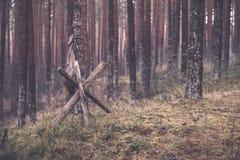παλαιά ξύλινα trenshes στη Λετονία - εκλεκτής ποιότητας αναδρομική επίδραση Στοκ Εικόνες