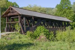 Παλαιά ξύλινη γέφυρα, Σλοβακία Στοκ Εικόνες