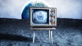 Παλαιά ξύλινη εκλεκτής ποιότητας TV στο φεγγάρι Γήινο υπόβαθρο Διαστημική έννοια εκφωνητές ελεύθερη απεικόνιση δικαιώματος