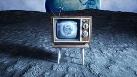 Παλαιά ξύλινη εκλεκτής ποιότητας TV στο φεγγάρι Γήινο υπόβαθρο Διαστημική έννοια εκφωνητές απεικόνιση αποθεμάτων