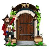 Παλαιά ξύλινη πόρτα στο μπαρ ελεύθερη απεικόνιση δικαιώματος