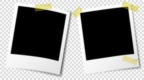 Παλαιά πλαίσια εικόνων αναδρομικός-ύφους στιγμιαία με τις ημιδιάφανες σκιές και την κολλητική ταινία διανυσματική απεικόνιση
