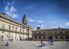 Παλαιά πλατεία πόλης Obradoiro κοντά στον καθεδρικό ναό του Σαντιάγο de compostela Στοκ Εικόνες