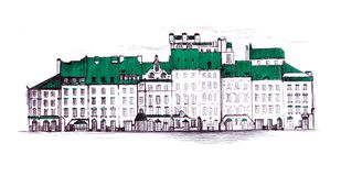 Παλαιά πλατεία της Πράγας, παλαιά πόλης αγορά της Βαρσοβίας Γραμμικός σύρετε o απεικόνιση αποθεμάτων