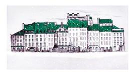 Παλαιά πλατεία της Πράγας, παλαιά πόλης αγορά της Βαρσοβίας, στο χιόνι κάτω από το μειωμένο χιόνι Γραμμικός σύρετε ελεύθερη απεικόνιση δικαιώματος