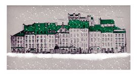 Παλαιά πλατεία της Πράγας, παλαιά πόλης αγορά της Βαρσοβίας, στο χιόνι κάτω από το μειωμένο χιόνι Γραμμικός σύρετε διανυσματική απεικόνιση