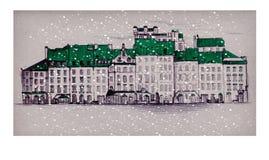 Παλαιά πλατεία της Πράγας, παλαιά πόλης αγορά της Βαρσοβίας, στο χιόνι κάτω από το μειωμένο χιόνι Γραμμικός σύρετε απεικόνιση αποθεμάτων