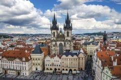 Παλαιά πλατεία της πόλης της Πράγας, καθεδρικός ναός Tyn Στοκ Φωτογραφίες