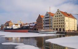 """Παλαιά πρόσδεση ατμοπλοίων στο χειμώνα σε GdaÅ """"SK στοκ φωτογραφίες"""