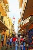 Παλαιά πόλης εμπορική οδός Ελλάδα της Κέρκυρας Στοκ φωτογραφία με δικαίωμα ελεύθερης χρήσης