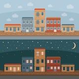 Παλαιά πόλης οδός με τις αναδρομικές προσόψεις οικοδόμησης, μπροστινή άποψη Ημέρα και Απεικόνιση αποθεμάτων