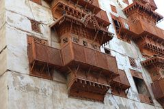 Παλαιά πόλη σε Jeddah, Σαουδική Αραβία γνωστή ως ` ιστορικό Jeddah ` Παλαιοί και κτήρια και δρόμοι κληρονομιάς σε Jeddah η χορήγη στοκ φωτογραφία