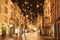παλαιά πόλη σκηνής νύχτας Στοκ Εικόνες