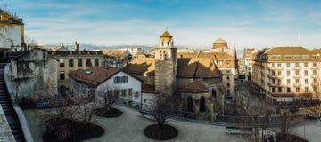 Παλαιά πόλη της Γενεύης πανοραμική Στοκ Εικόνες
