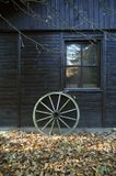 παλαιά ρόδα φθινοπώρου ξύλ&i Στοκ Εικόνες