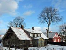Παλαιά σπίτια το χειμώνα, Λιθουανία Στοκ εικόνες με δικαίωμα ελεύθερης χρήσης
