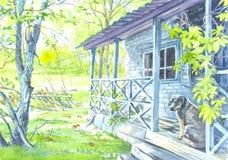 Παλαιά σπίτι και σκυλί που περιμένουν τους ιδιοκτήτες στοκ φωτογραφίες