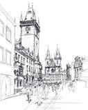 παλαιά τετραγωνική πόλη σκίτσων της Πράγας ελεύθερη απεικόνιση δικαιώματος