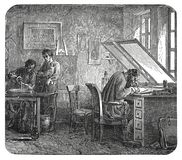 Παλαιά χάραξη εργαστηρίων ορείχαλκου χαράζοντας Στοκ Εικόνες