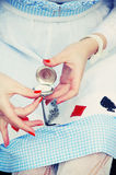 Παλαιά χέρια τσέπη-ρολογιών και της Alice Στοκ Φωτογραφίες