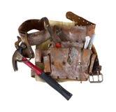 Παλαιά χρησιμοποιημένη ζώνη εργαλείων με το σφυρί Στοκ Φωτογραφίες