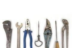 Παλαιά handyman εργαλεία στο άσπρο υπόβαθρο Στοκ φωτογραφίες με δικαίωμα ελεύθερης χρήσης