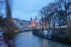 Παλαιές απόψεις Σλοβενία, Λουμπλιάνα πόλεων Στοκ Εικόνες