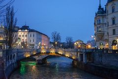 Παλαιές απόψεις Σλοβενία, Λουμπλιάνα πόλεων Στοκ Εικόνα