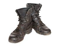 Παλαιές μαύρες μπότες στρατού Στοκ Φωτογραφία
