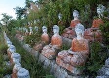 Παλαιές σειρές αγαλμάτων του Βούδα στη χλόη Στοκ εικόνα με δικαίωμα ελεύθερης χρήσης