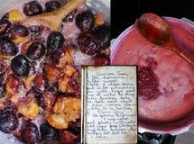 Παλαιές συνταγές για Damson και δαμάσκηνων τη μαρμελάδα στοκ φωτογραφίες