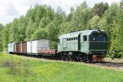 Παλαιές τραίνο και ατμομηχανή Ο σιδηρόδρομος ακολουθεί τα τεντώματα και την πράσινα χλόη και τα δέντρα Υπόβαθρο οδικού περιβάλλον στοκ φωτογραφία με δικαίωμα ελεύθερης χρήσης