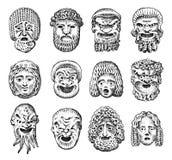 Παλαιές τρομακτικές μάσκες Θεατρικά αφηρημένα πρόσωπα αρχαίου Έλληνα Ιαπωνικός δαίμονας, ηληκιωμένος και νέα γυναίκα κόκκινος τρύ ελεύθερη απεικόνιση δικαιώματος