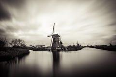 Παλαιοί ανεμόμυλοι σε Kinderdijk στην ανατολή, Ολλανδία, Κάτω Χώρες, ΕΕ Στοκ Εικόνες