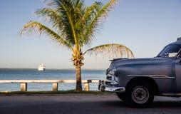 Παλαιοί αυτοκίνητο, φοίνικας και κρουαζιερόπλοιο, Cienfuegos στοκ εικόνα