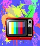 Παλαιός έγχρωμος τηλεοπτικός δέκτης με την κεραία διανυσματική απεικόνιση