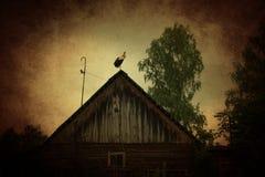 Παλαιός αγροτικός σταύλος με τον πελαργό στοκ εικόνα με δικαίωμα ελεύθερης χρήσης