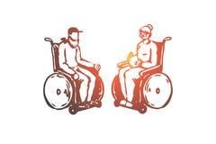 Παλαιός, ανώτερος, αναπηρική καρέκλα, περιποίηση, έννοια ηλικίας Συρμένο χέρι απομονωμένο διάνυσμα ελεύθερη απεικόνιση δικαιώματος