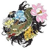 Παλαιός δράκος με το ιαπωνικό ύφος δερματοστιξιών κυπρίνων koi διανυσματική απεικόνιση