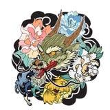 Παλαιός δράκος με το ιαπωνικό ύφος δερματοστιξιών κυπρίνων koi ελεύθερη απεικόνιση δικαιώματος