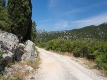 Παλαιός δρόμος γύρω από τις όμορφες λίμνες Bacina στη Δαλματία, Κροατία - προορισμός διακοπών στοκ εικόνες