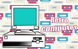 Παλαιός εκλεκτής ποιότητας αναδρομικός υπολογιστής γραφείου hipster και μια αναδρομική επιγραφή υπολογιστών από τα 70 ` s, 80 ` s διανυσματική απεικόνιση