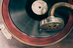 Παλαιός εκλεκτής ποιότητας gramophone φορέας, τοπ άποψη Στοκ Εικόνες