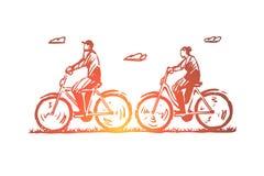 Παλαιός, ζεύγος, ποδήλατο, ευτυχής, αθλητική έννοια Συρμένο χέρι απομονωμένο διάνυσμα διανυσματική απεικόνιση