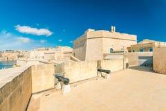 Παλαιός κανόνας στις αποδοκιμασίες του οχυρού Άγιος Angelo, Birgu, Μάλτα Στοκ φωτογραφία με δικαίωμα ελεύθερης χρήσης